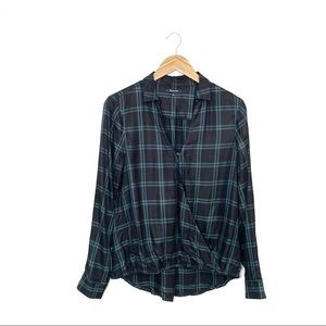 Madewell Wrap Front Shirt in Palma Plaid Size M